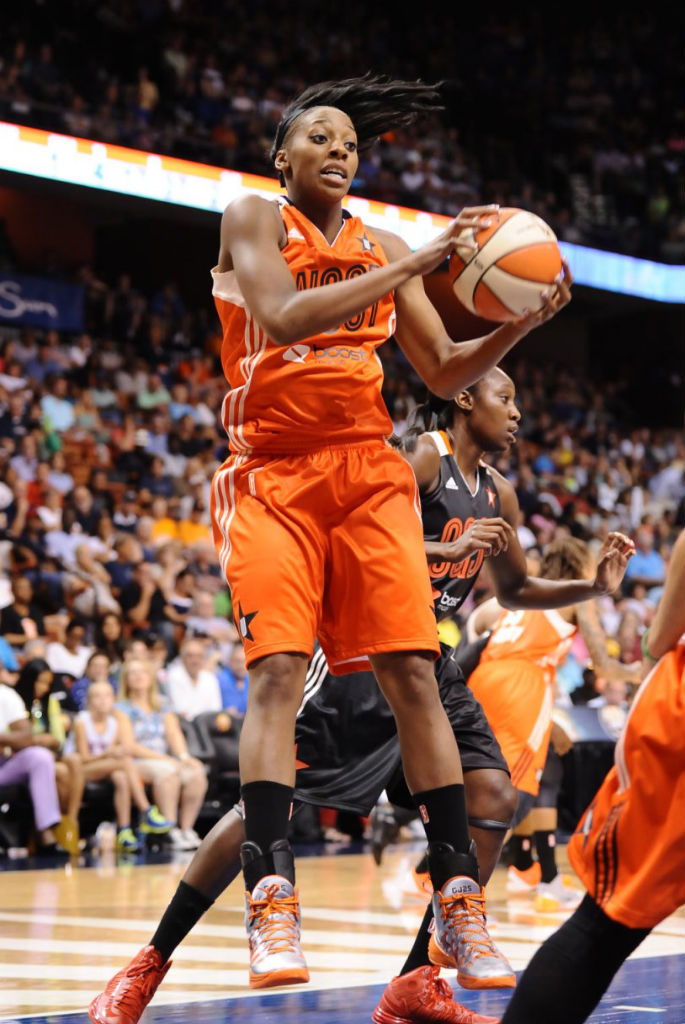 Glory Johnson wearing Nike Hyperdunk 2013 All-Star PE