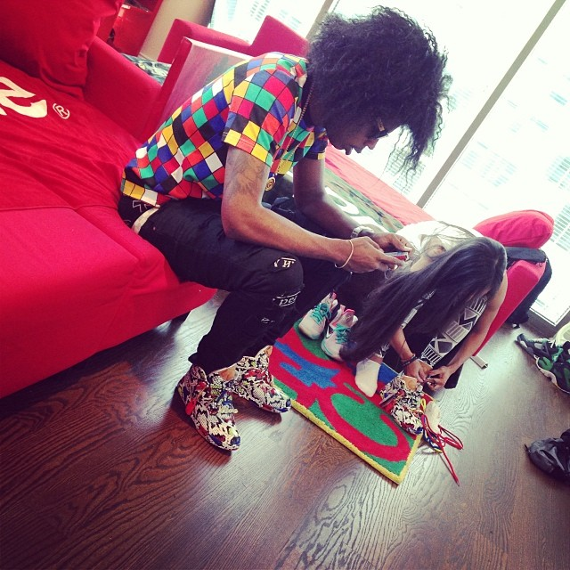 Trinidad James wearing Melody Ehsani x Reebok Pump Omni Lite