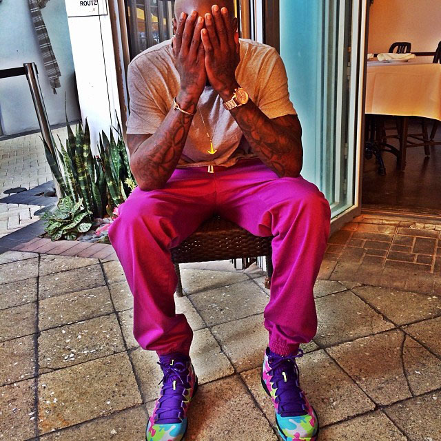 Chad Johnson wearing Air Jordan 28 SE Bel-Air