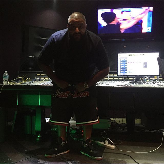 DJ Khaled wearing the 'Bred' Air Jordan 4