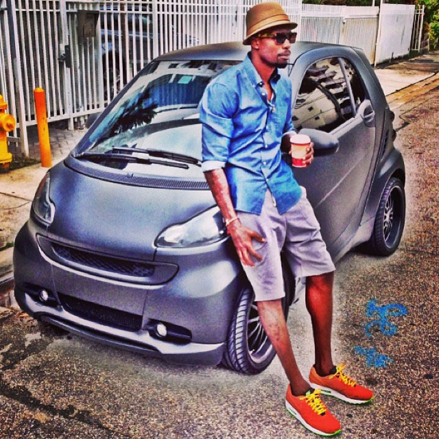 Chad Johnson wearing Nike Air Max 1 FB Orange Leopard