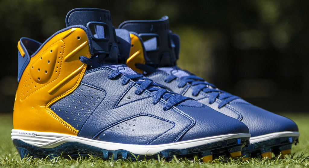 Dwight Freeney's Air Jordan VI 6 Chargers PE Cleats (1)