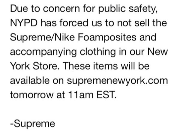NYPD Shuts Down Supreme x Nike Air Foamposite One In-Store Release (1)