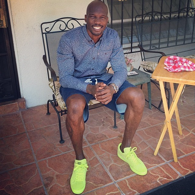 Chad Johnson wearing PUMA Suede Neon