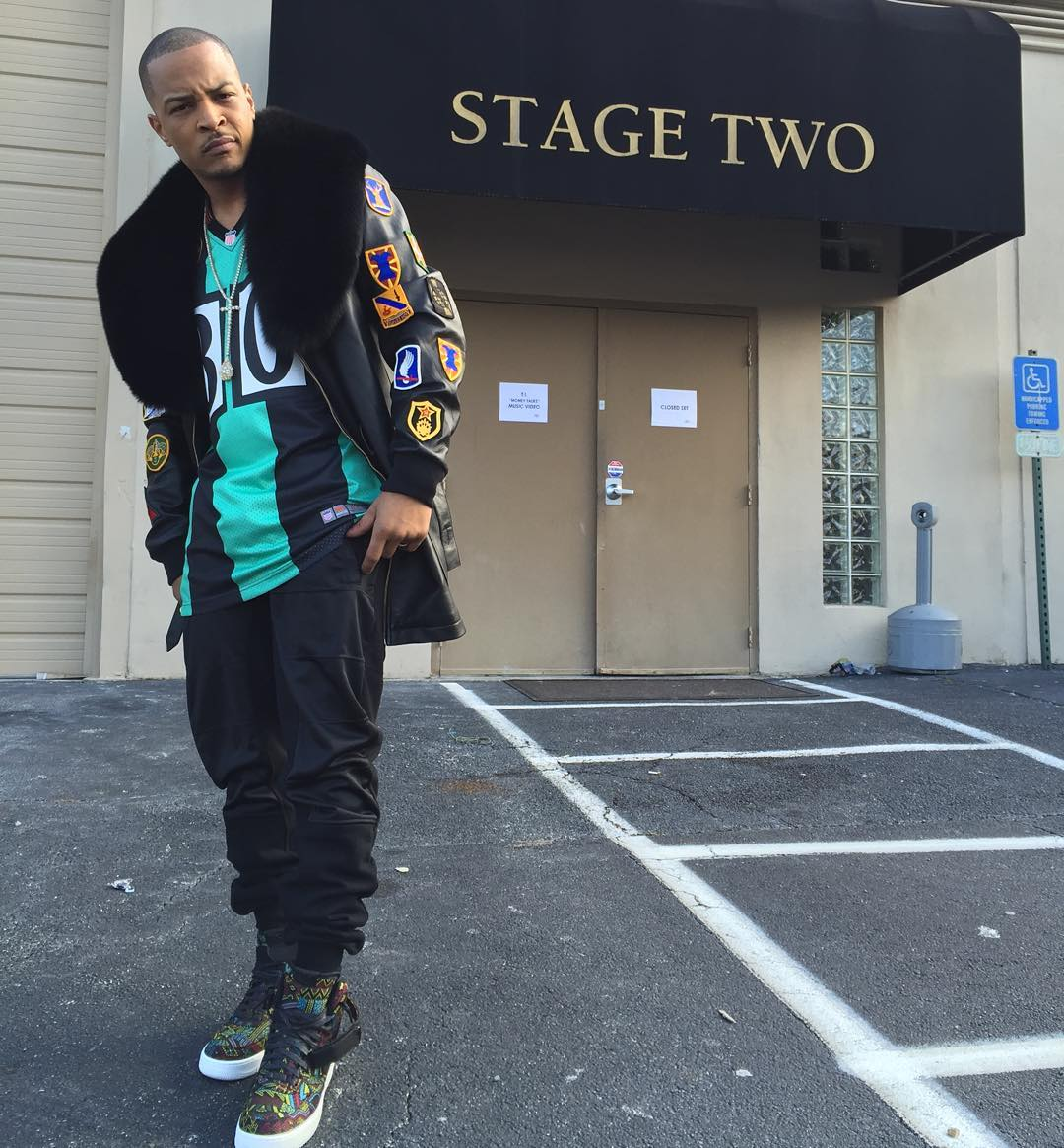 T.I. Wearing the 'BHM' Nike Air Force 1 High