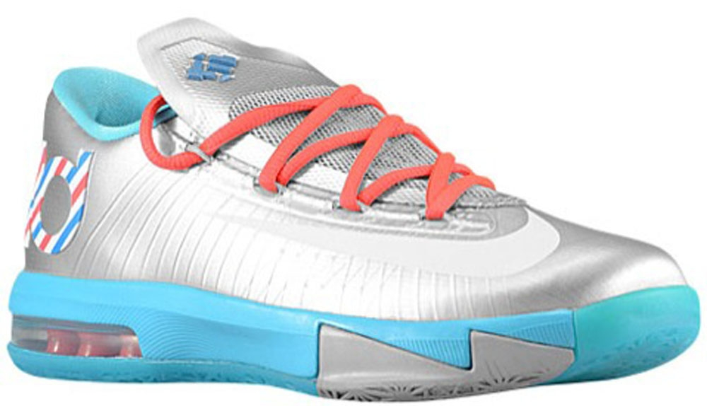 Nike KD VI GS Metallic Silver/White-Turquoise Blue-Laser Crimson