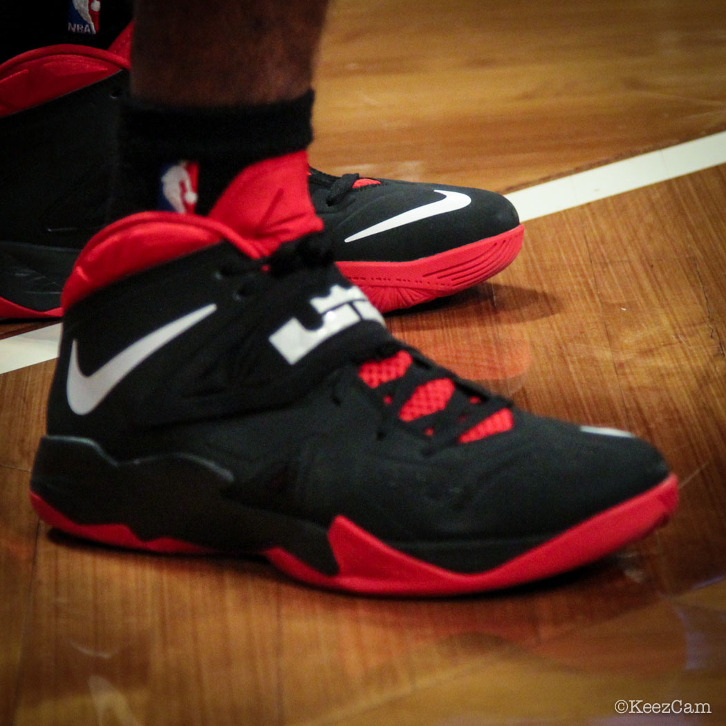 Sole Watch // Up Close At Barclays for Nets vs Heat - Norris Cole wearing Nike Zoom Soldier 7