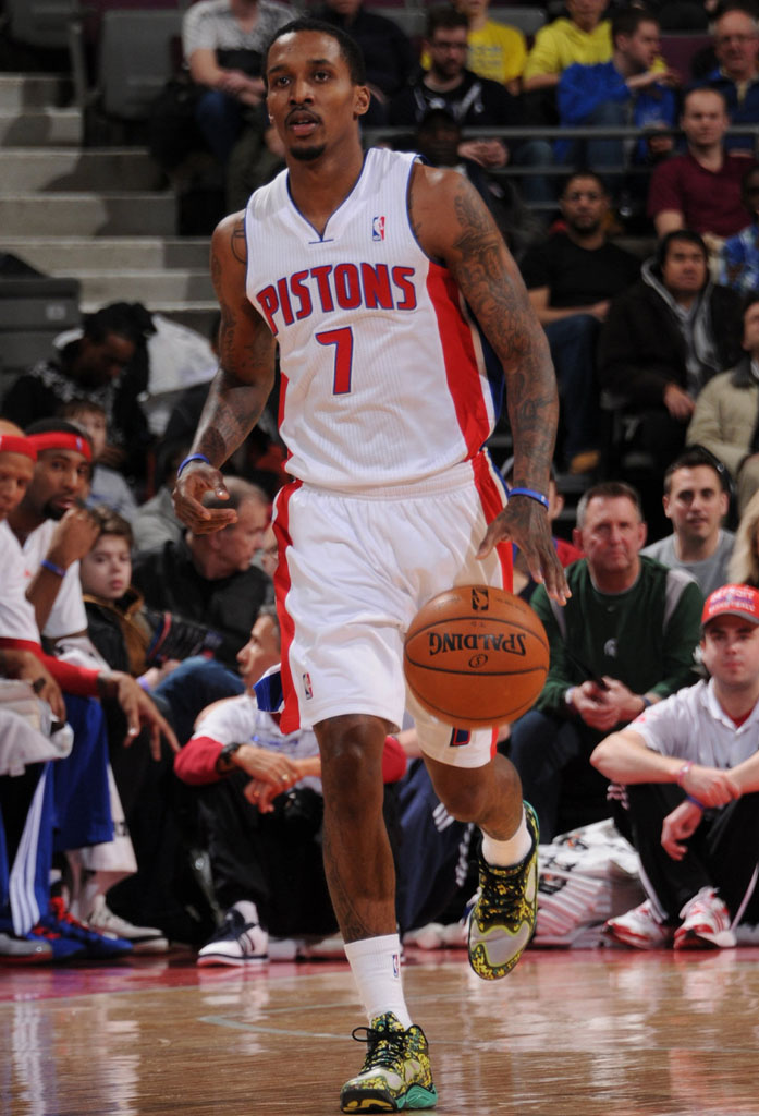 Brandon Jennings wearing Under Armour Anatomix Spawn Low BHM