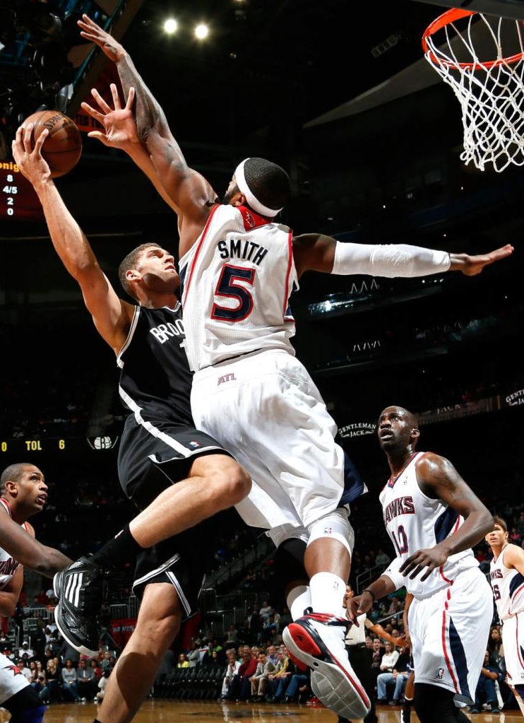 Brook Lopez wearing adidas adizero Ghost 2; Josh Smith wearing adidas Crazy Fast Home PE