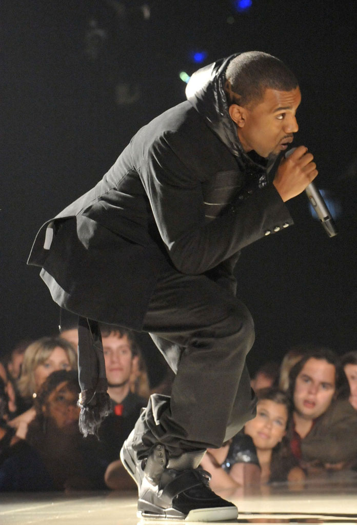 Kanye West wearing Nike Air Yeezy Black Sample