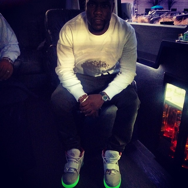 Kevin Hart wearing Nike Air Yeezy 2 Platinum