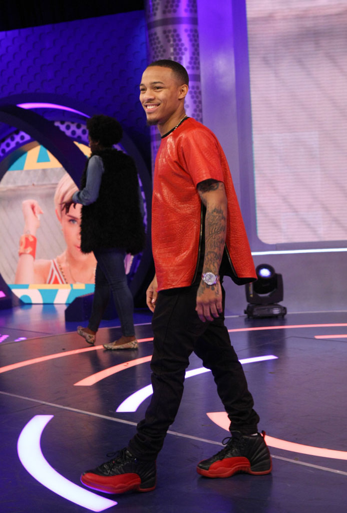 Bow Wow wearing Air Jordan 12 XII Black/Red