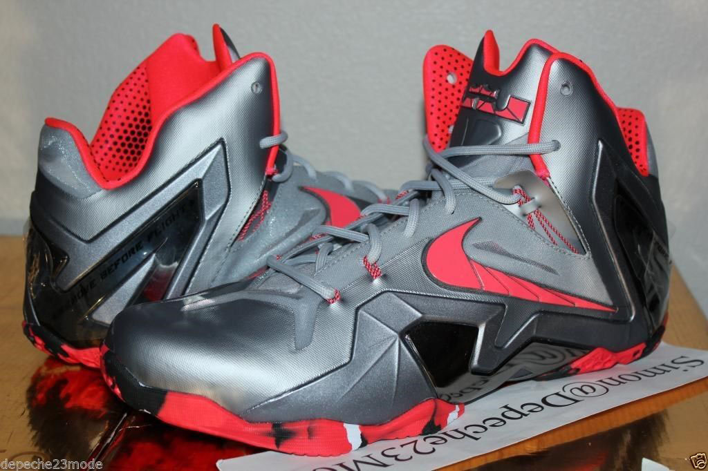 42703c2a142f7 Nike LeBron 11 Elite Wolf Grey Crimson Cool Grey Black 642846-001 (1)