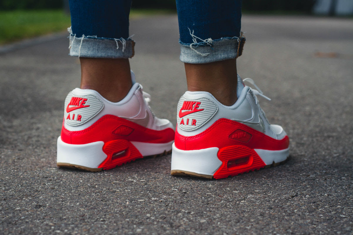 Women's Nike Air Max 90 Bright Crimson On-Foot Back