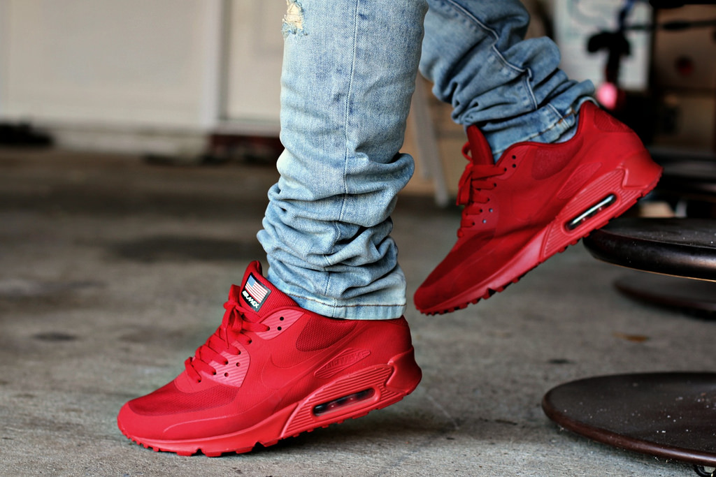 buy online 793cc d09e0 nike air max 90 all red on feet