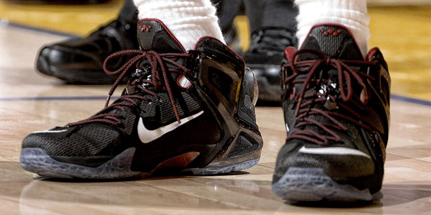 576b7fec730 LeBron James wearing a Black Red-White Nike LeBron XII 12 Elite PE