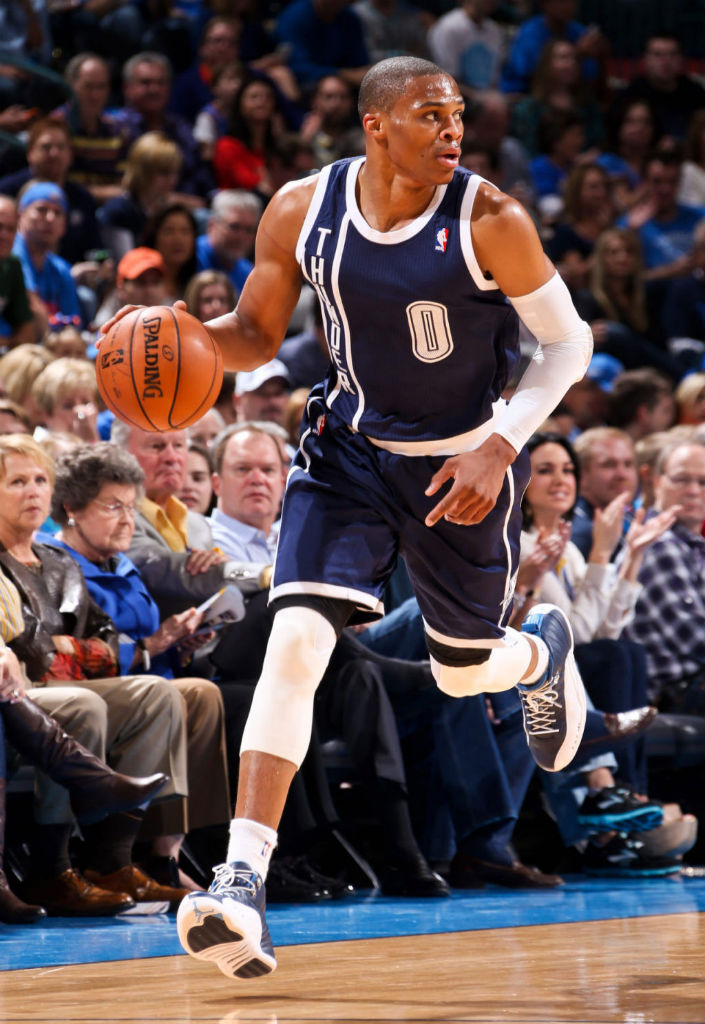 Russell Westbrook wearing Oklahoma City Thunder Alternate and Air Jordan XII 12 Obsidian