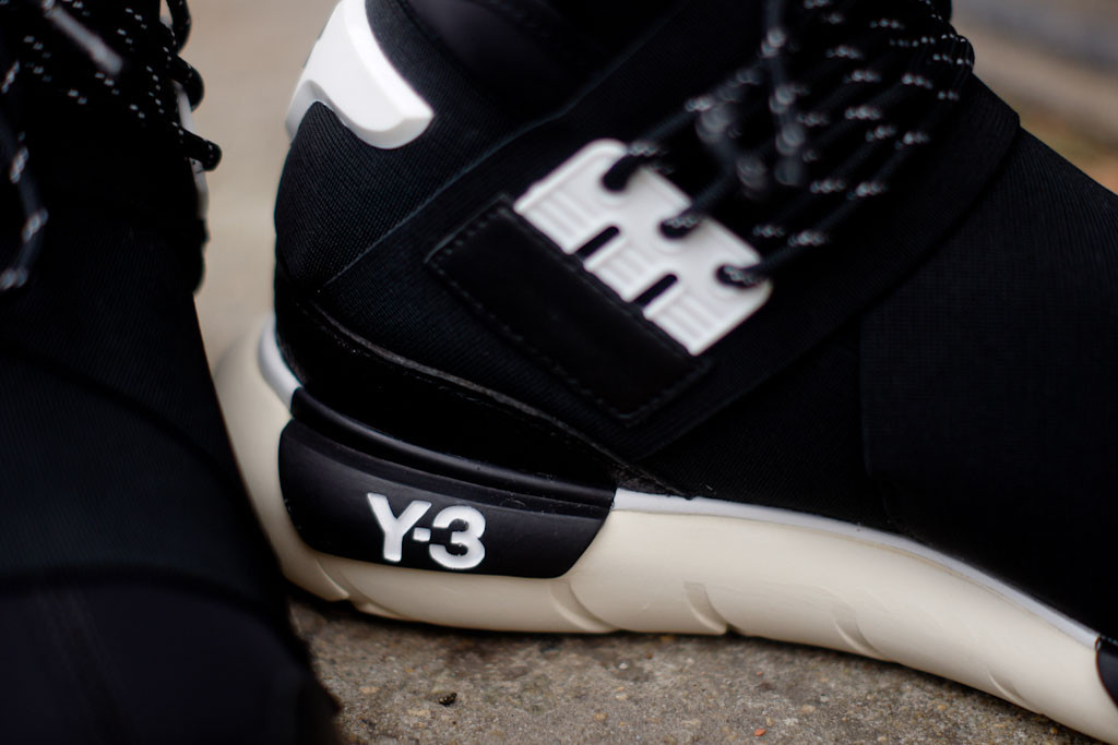 adidas yohji yamamoto y-3 qasa high in black and white detail