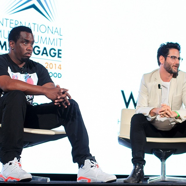 Diddy wearing Air Jordan VI 6 White/Infrared