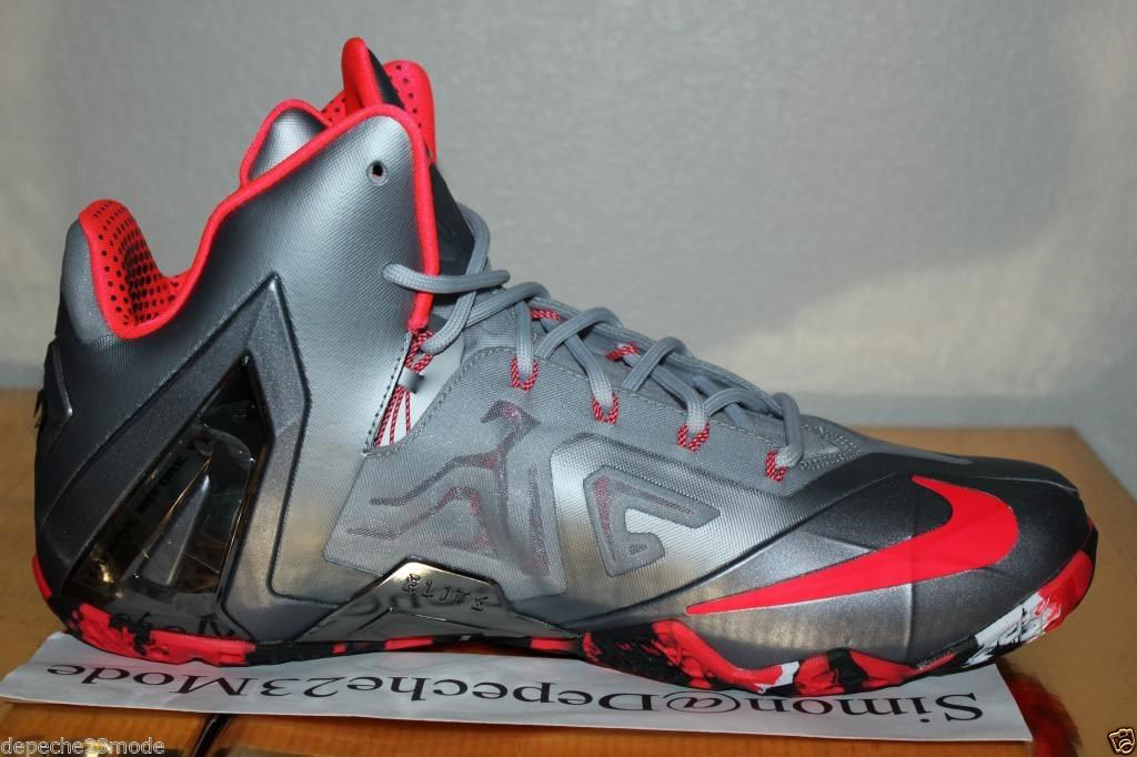 huge selection of ebaf3 e4841 Nike LeBron 11 Elite Wolf Grey Crimson Cool Grey Black 642846-001 (7)