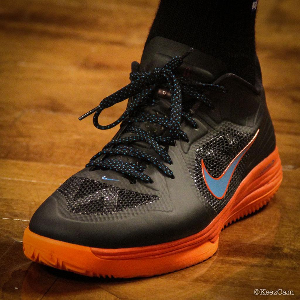 best service 98a0c 77fa3 Serge Ibaka -- adidas Crazy Strike 3. Andre Roberson wearing Nike Lunar  Hypergamer