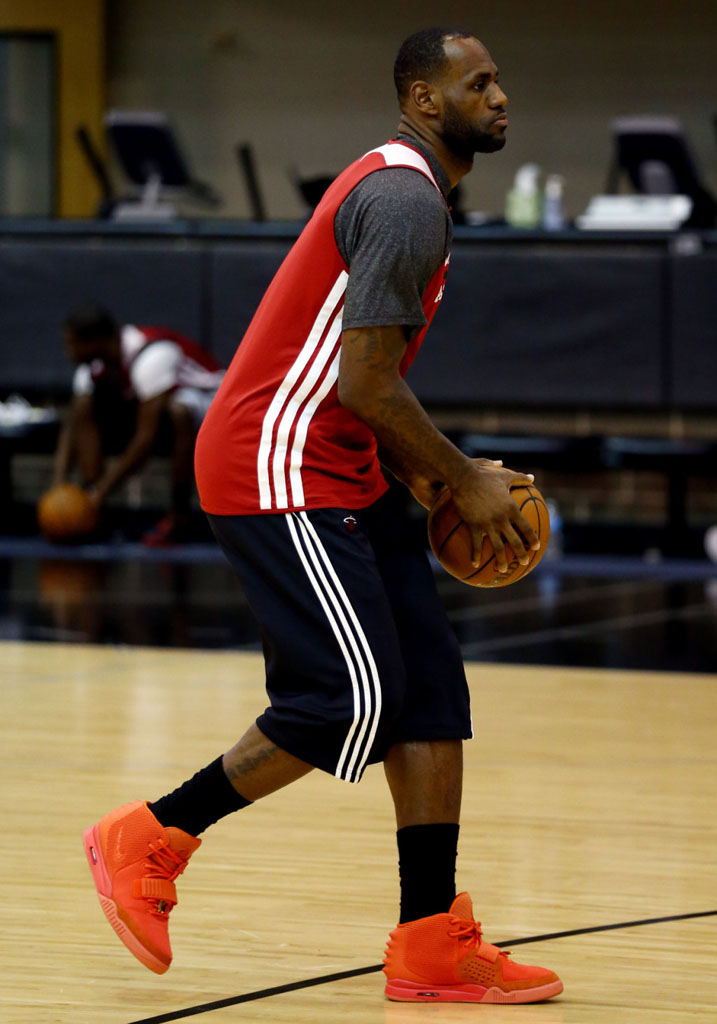 LeBron James wearing Nike Air Yeezy II 2 Red October (3)