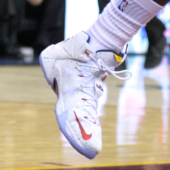 LeBron James wearing Nike LeBron XII 12 White/Red-Navy Speckle PE (5)