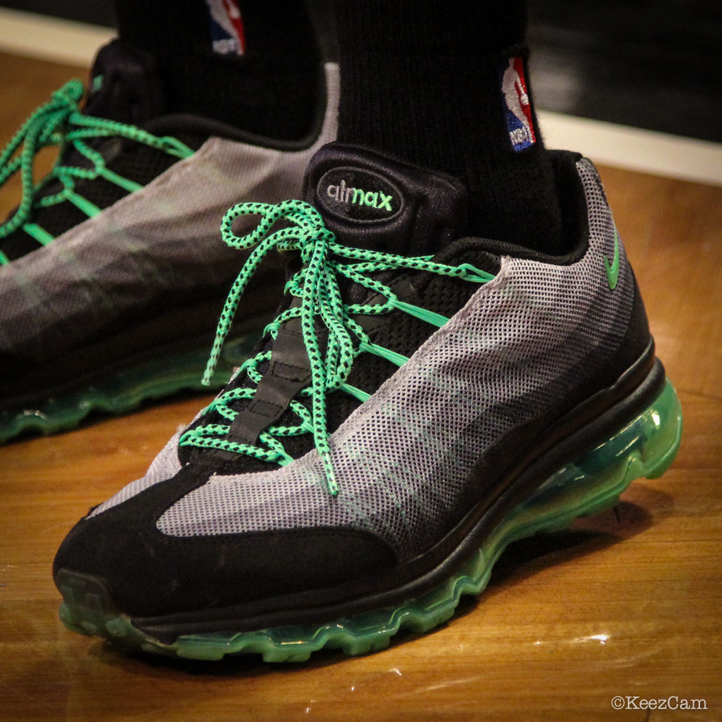 Sole Watch // Up Close At Barclays for Nets vs Bucks - Nick Van Exel wearing Nike Air Max 95 Dynamic Flywire Poison Green