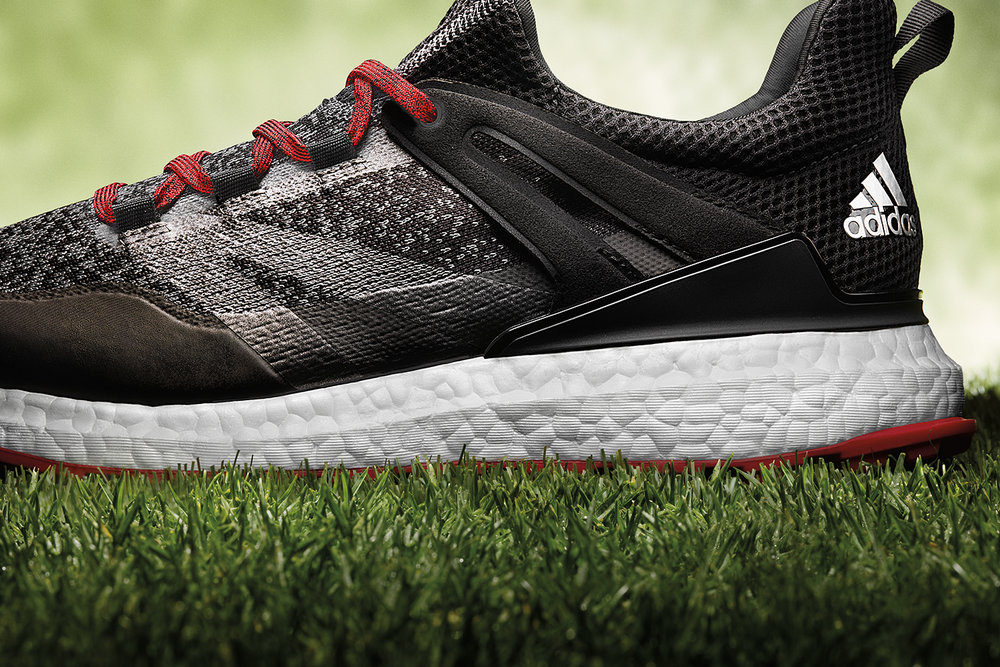 9f0680a4f Adidas Crossknit Boost Golf Shoe Black Red Heel