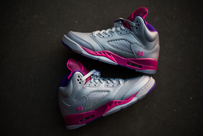 watch 87be6 9cb7a Air Jordan 5 GS in Cement Grey   Pink Flash   Raspberry Red   Electric  Purple