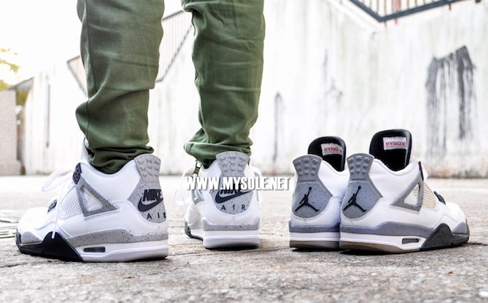 Air Jordan 4 'Cement' with Nike Air On-Foot 836015-192 (5)