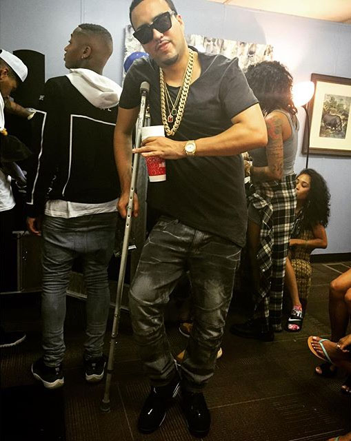 French Montana wearing the 'Chrome' Air Jordan 6 Low