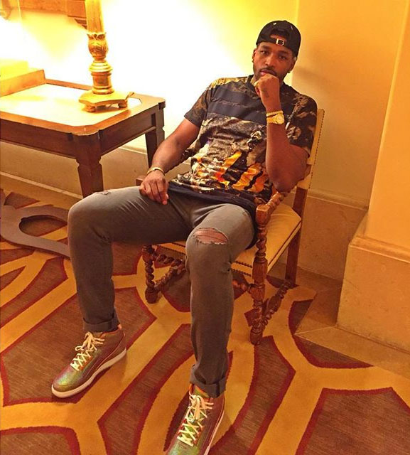 Tristan Thompson wearing the 'Iridescent' Nike Air Python