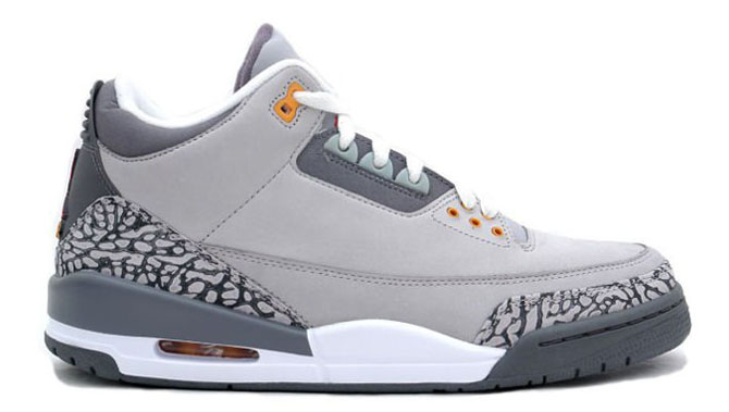 Shoe: Air Jordan 3 Retro LS – Silver / Sport Red / Light Graphite / Orange  Peel Retail Price: $135. Release Date: 02/24/2007 #1 Movie: Ghost Rider #1  Song: ...