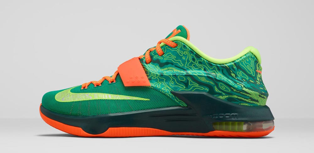 new arrival 19e75 b449c Nike KD 7  Weatherman  Release Date  03 05 15. Color  Emerald  Green Metallic Silver-Dark Emerald-Total Orange Style    653996-303. Price    150