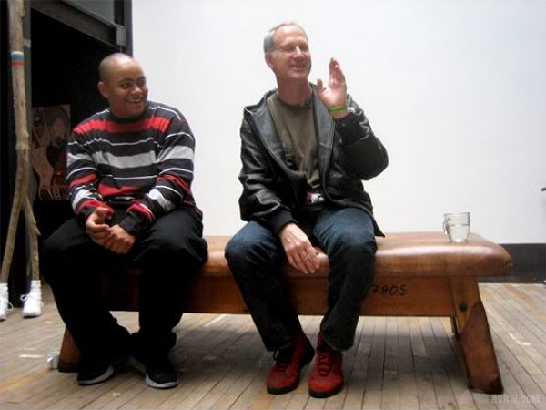 Tinker Hatfield wearing a  Red Suede  Air Jordan 10 Seamless Sample 7ba661423