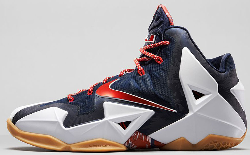 low priced cac74 fc48c Nike LeBron 11 Low  USA  642849-614 University Red White-Obsidian