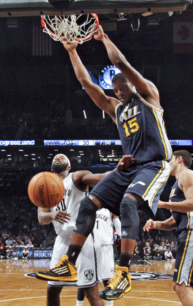 Derrick Favors wearing adidas adizero Ghost 2 Black Yellow