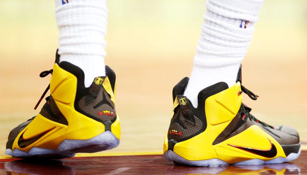 sports shoes 9c9ec b79e1 LeBron James Has Triple-Double in Nike LeBron XII 12 Black Yellow-Red