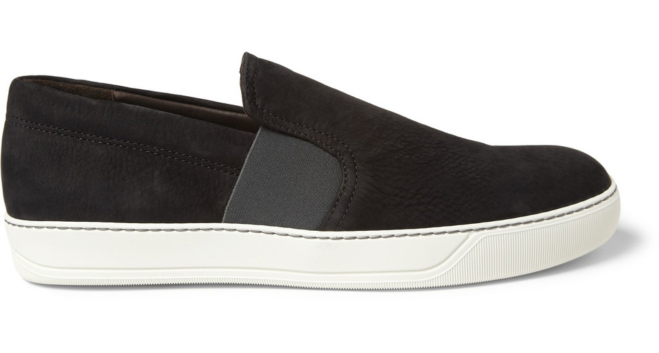 Grey and White Slip-On Sneakers Lanvin P6zEAo
