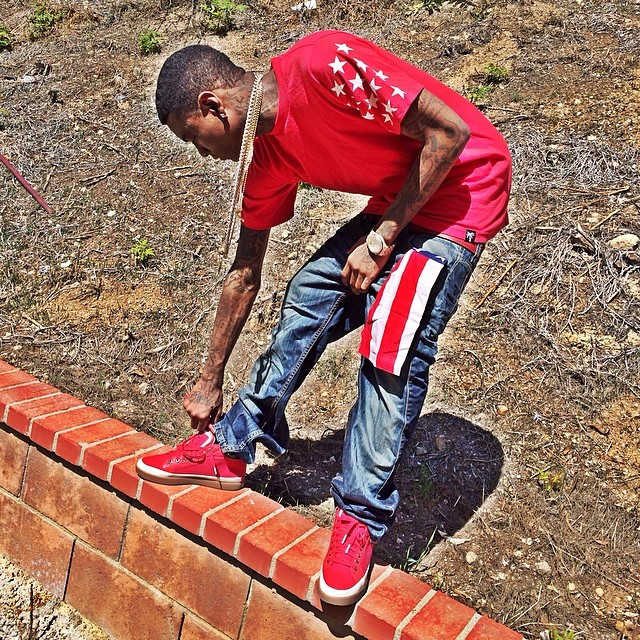 Soulja Boy wearing PUMA AMQ Rabble Mid