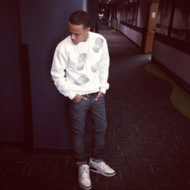 Bow Wow wearing Air Jordan 3 Retro Cement