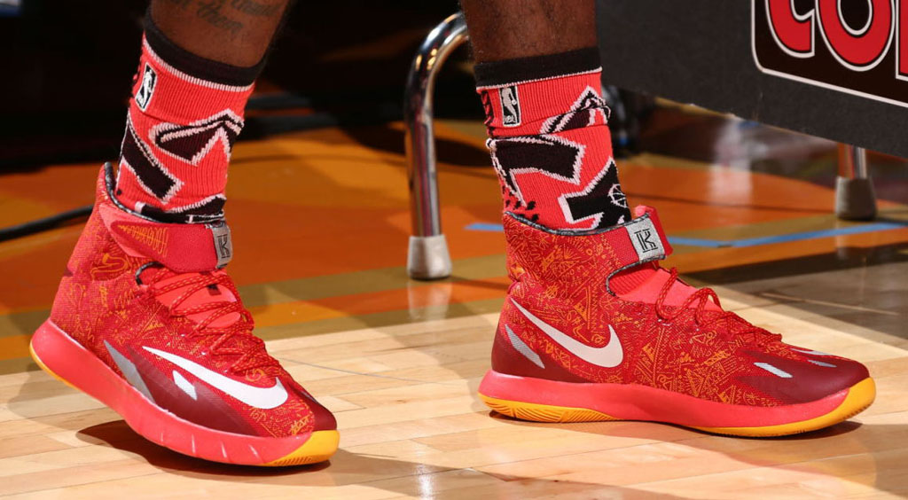 Kyrie Irving wearing Nike Zoom HyperRev Red/Yellow