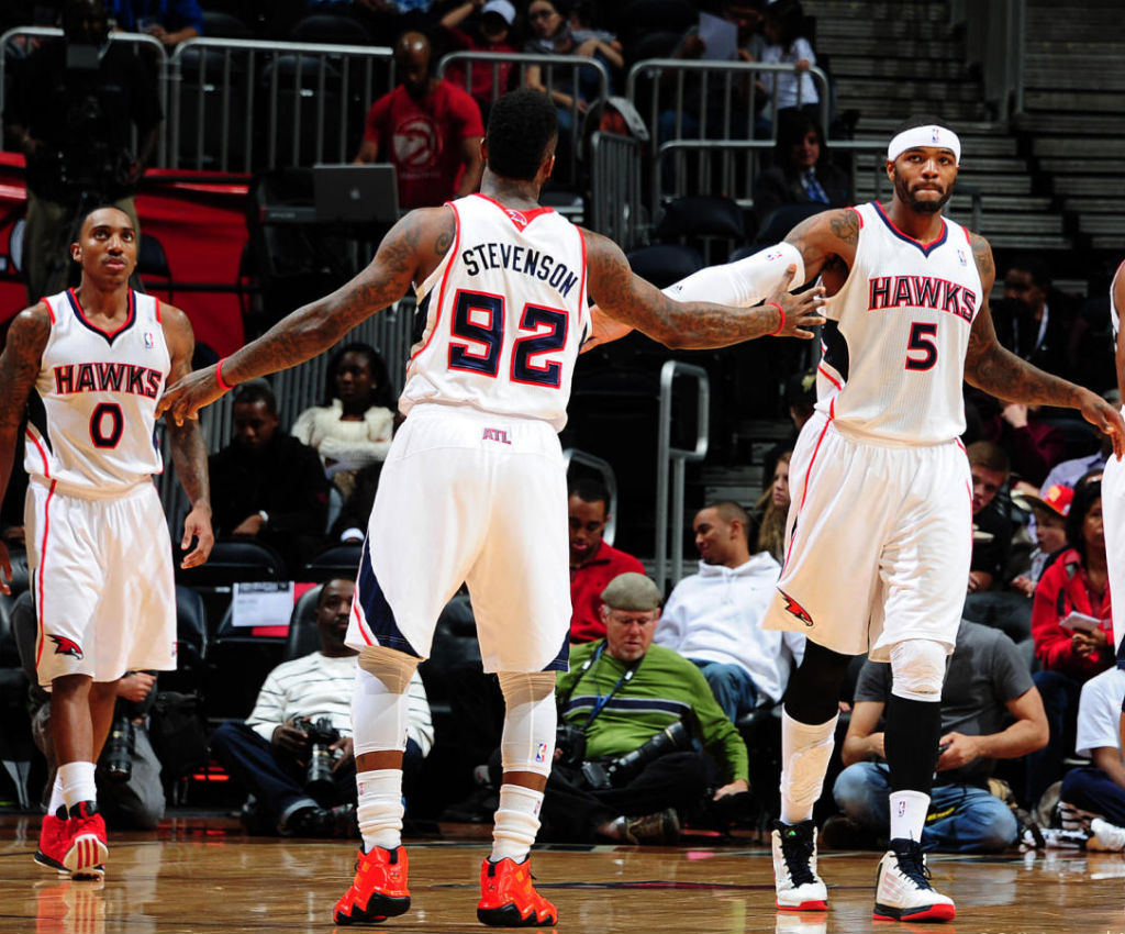 Jeff Teague wearing adidas Rose 3 Brenda; DeShawn Stevenson wearing adidas Top Ten 2000 Bright Lights Big City Chicago; Josh Smith adidas adizero Ghost 2 Home PE
