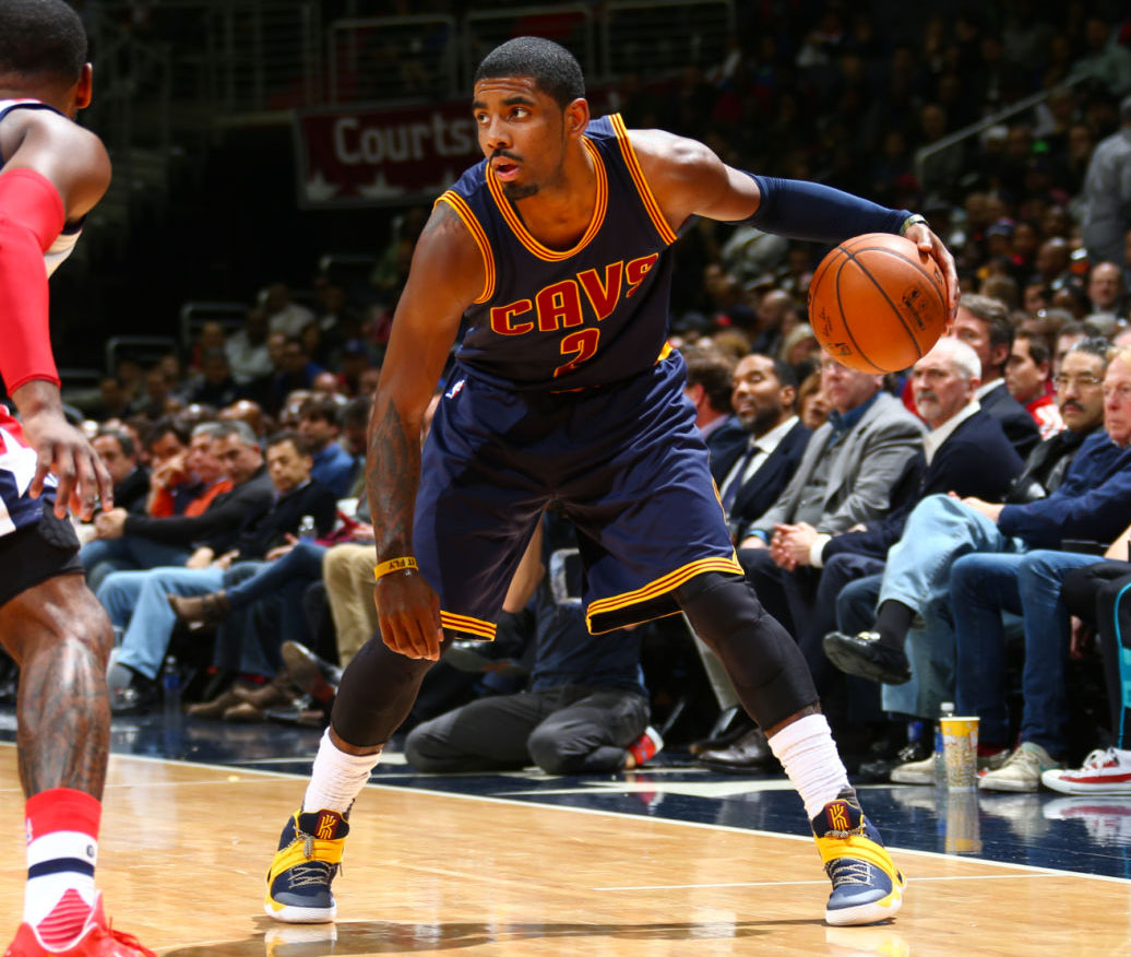 Kyrie Irving wearing a Navy/Yellow Nike Kyrie 2 PE (2)