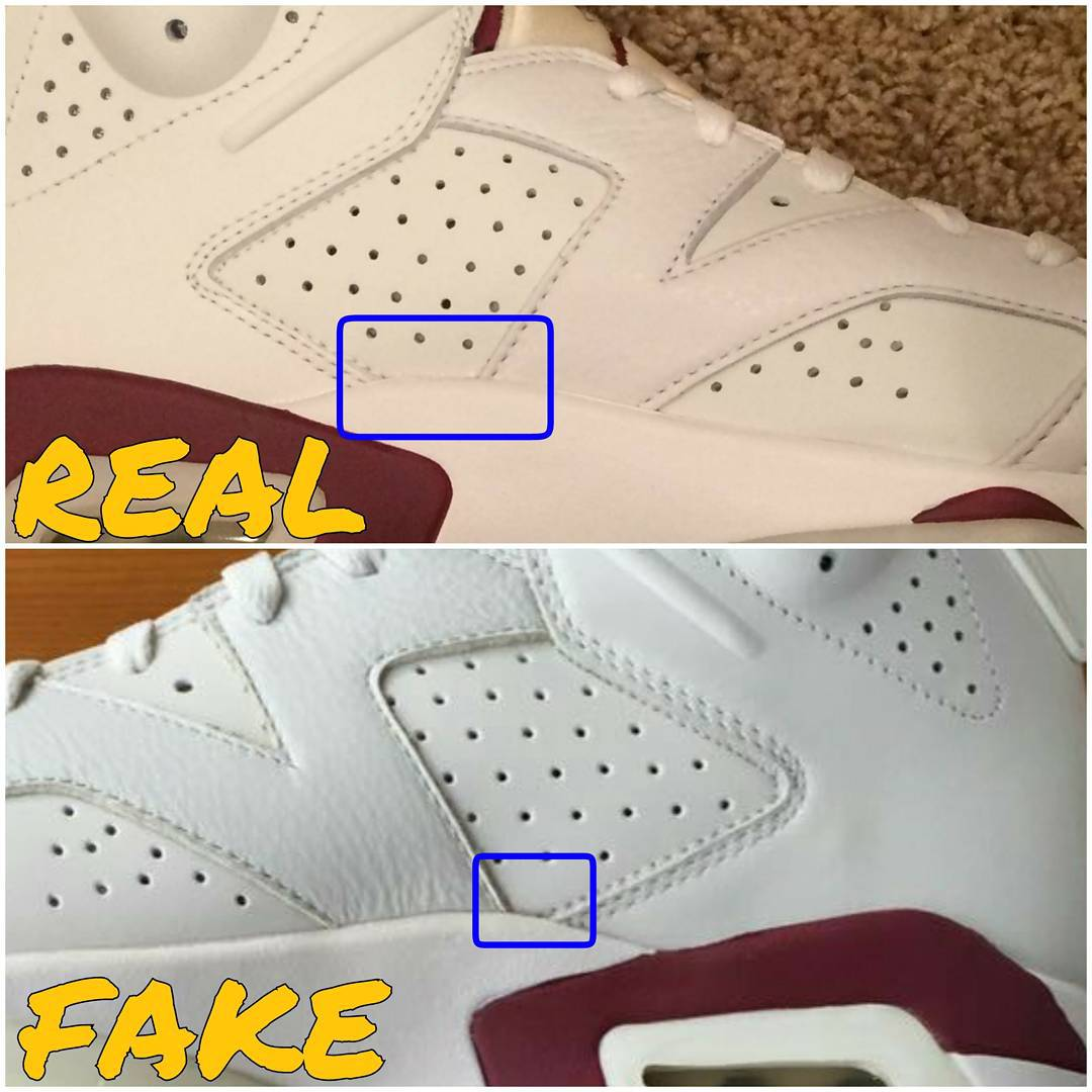 free shipping bf6ad 0a59d Air Jordan VI 6 Maroon Real Fake Legit Check (2)