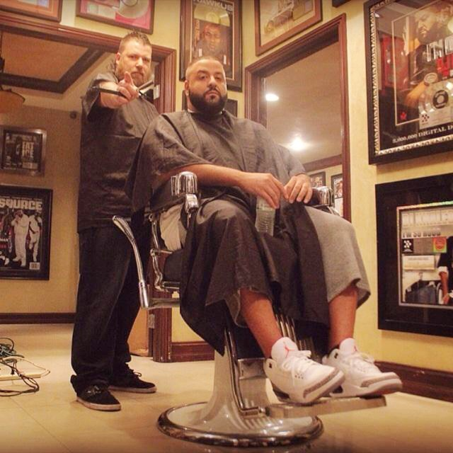 48f5554d2584 DJ Khaled wearing Air Jordan III 3 Cement. DJ Khaled -- Air Jordan 3 Retro   Cement . DJ Khaled wearing Nike LeBron X 10 Must Be the Honey