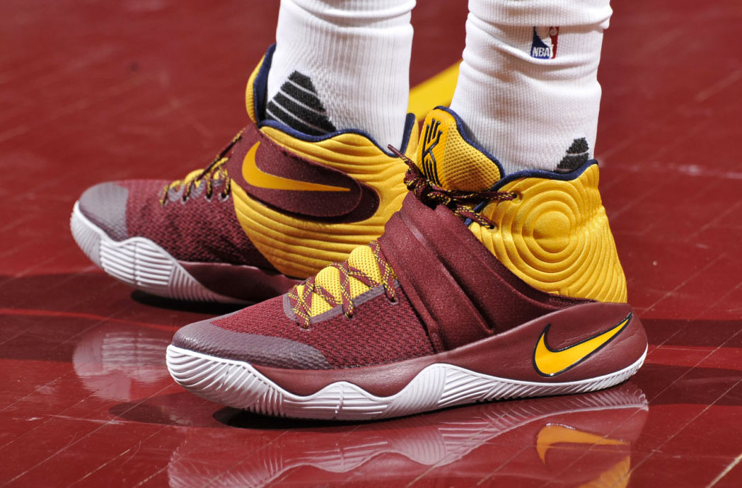 classic fit 95c88 53015 Kyrie Irving Wearing a Wine Yellow-Navy Nike Kyrie 2 PE (1)