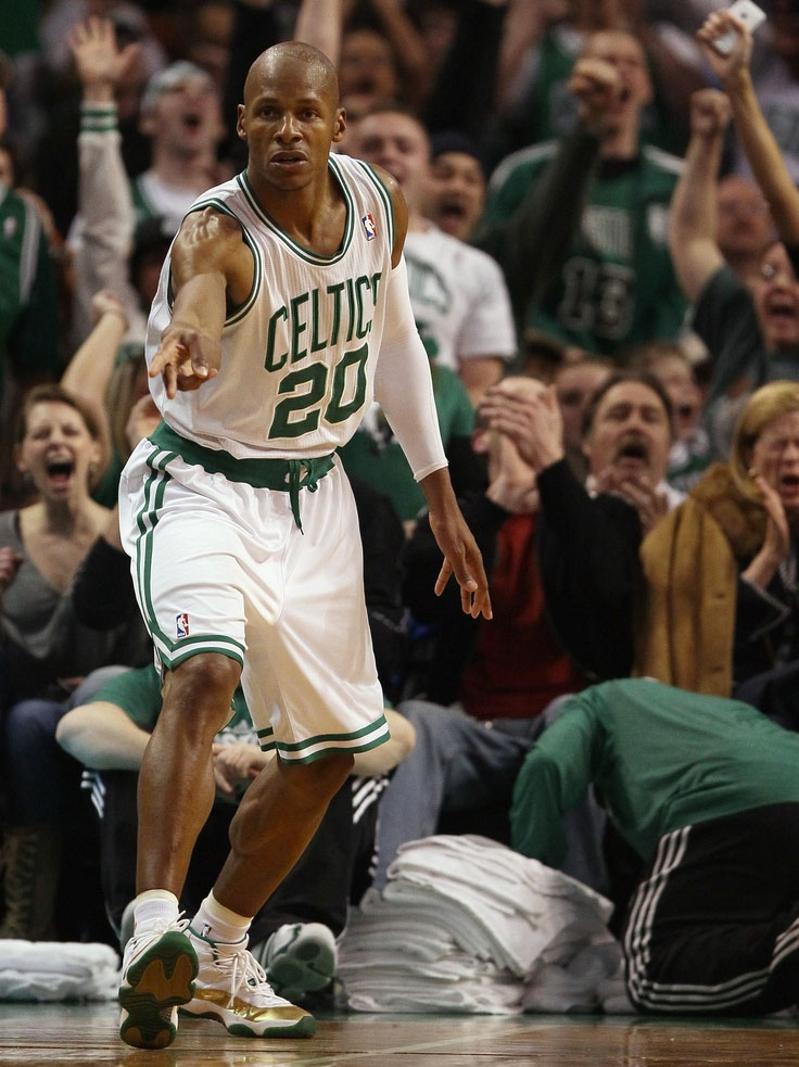 919351c6101 Ray Allen wearing the 'Ring Night' Air Jordan 11 Celtics
