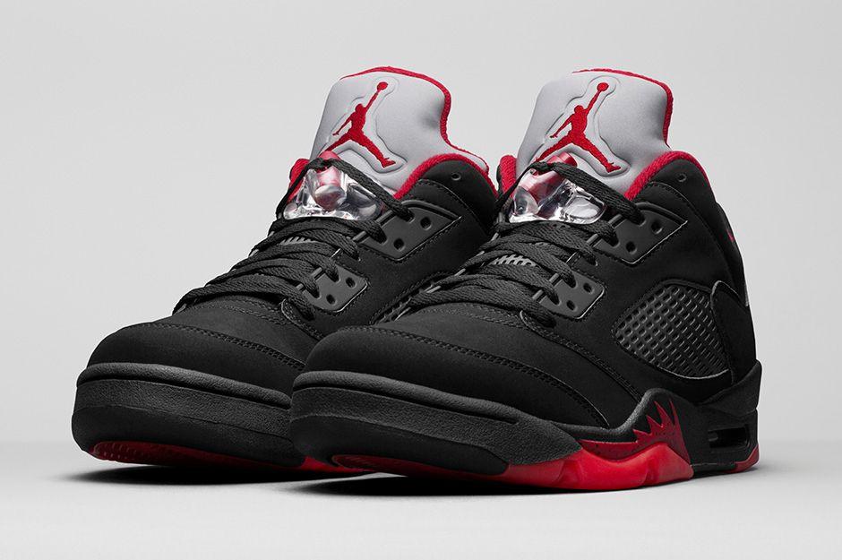 nike air jordans 5 black red